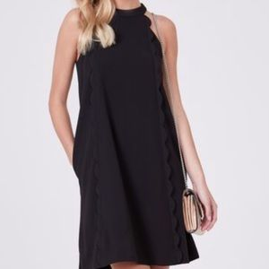 Halter dress with scalloped trim